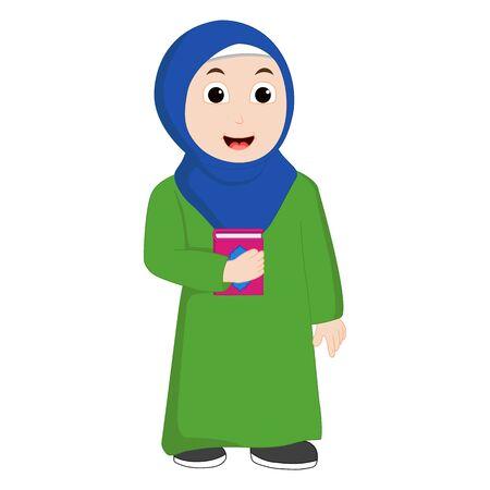 Muslim girl vector bring Al-quran and smile