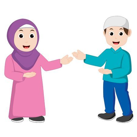 Muslim couple vector is pointing and smile