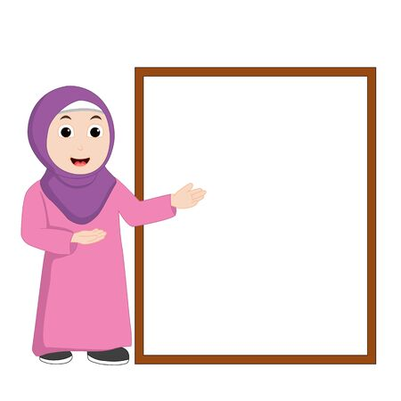 Muslim girl vector pointing at the board