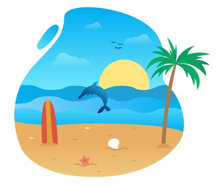 Summer vector flat design on the beach 写真素材 - 129859603