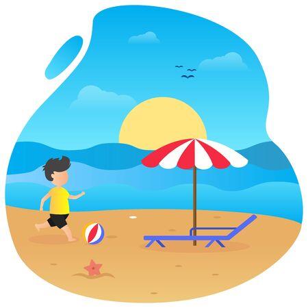 Summer vector flat design on the beach 写真素材 - 129859605
