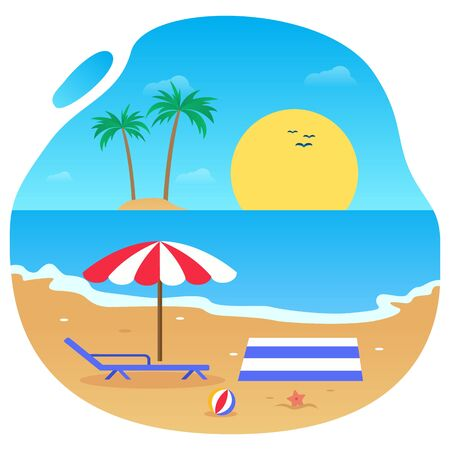 Summer vector flat design on the beach 写真素材 - 129859631