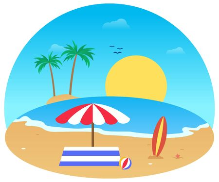 Summer vector flat design on the beach 写真素材 - 129859634