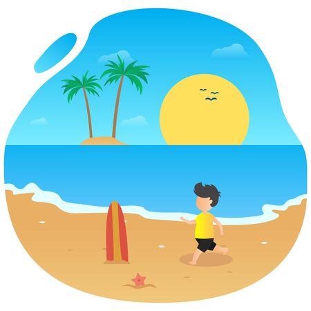 Summer vector flat design on the beach Ilustração