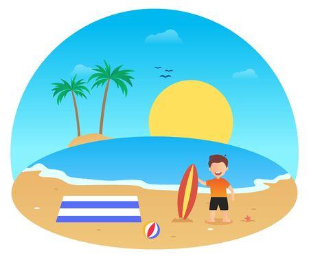 Summer vector flat design on the beach 写真素材 - 129859637