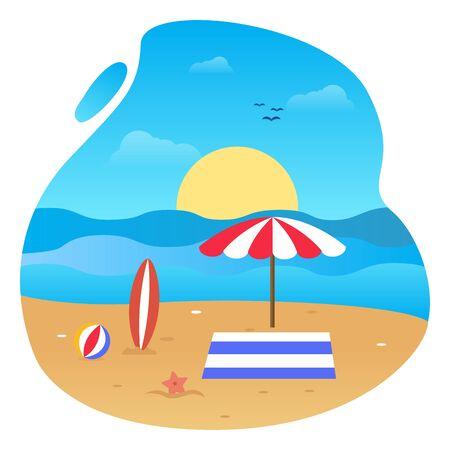 Summer vector flat design on the beach 写真素材 - 129859636