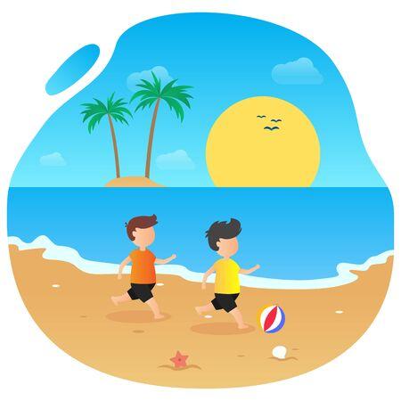 Summer vector flat design on the beach  イラスト・ベクター素材