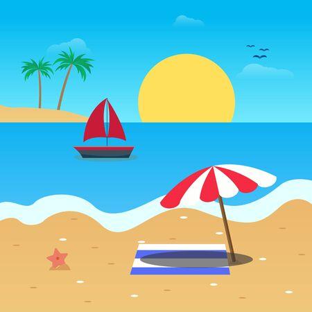 vector design flat summer on the beach
