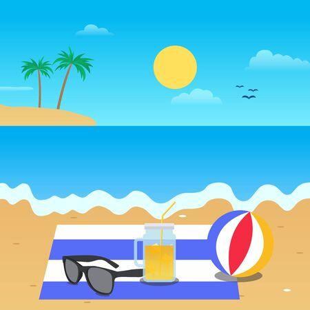 Vector of summer flat design on the beach  イラスト・ベクター素材