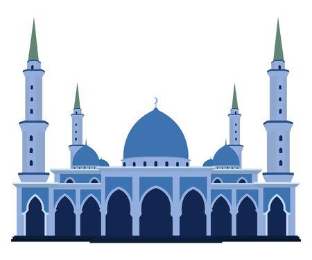 Vector de estilo de diseño plano de mezquita islámica Ilustración de vector
