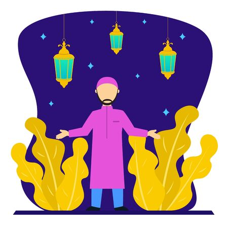 Muslim people vector flat design.during the month of Ramadan