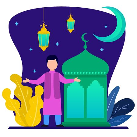 Muslim people vector flat design.during the month of Ramadan
