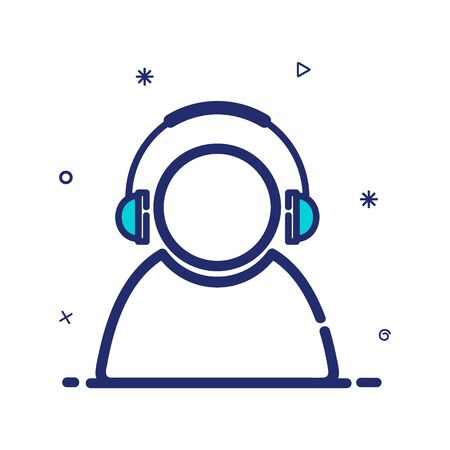 Vector icon listening to modern style music