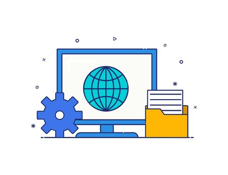 modern style computer icon vector. computer icon with accessories