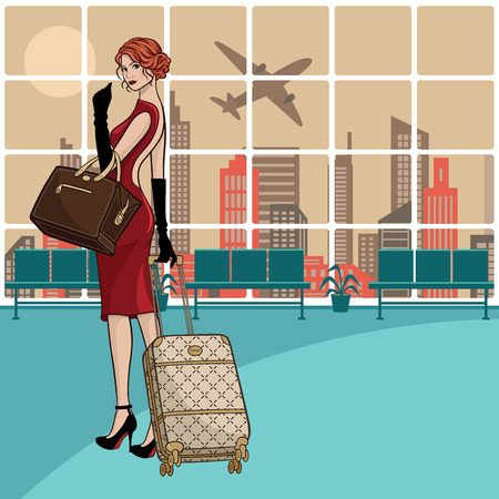 taking off: Beautiful businesswoman with luggage waiting for her flight and airplane taking off.