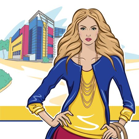fashionable girl: Modern fashionable girl on the background of the city Illustration