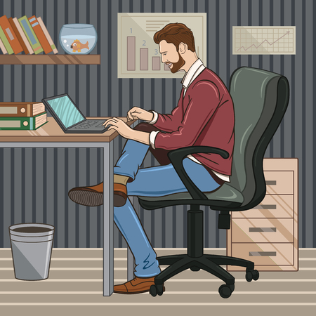 personality development: illustration businessman in the workplace Illustration