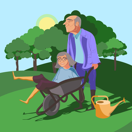 happy mature couple: Funny and cute grandparents frolic in nature Illustration