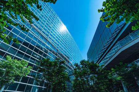 事務所ビルと緑、ビジネス コンセプト