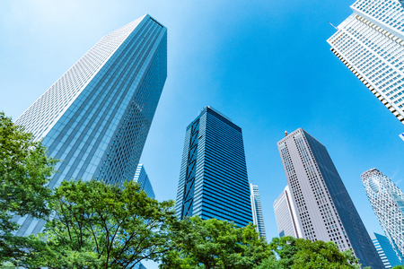 High-rise buildings and blue sky-Shinjuku, Tokyo, Japan