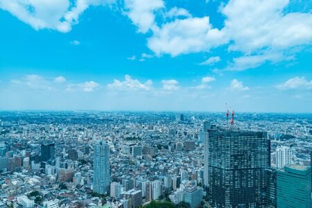 TOKYO, JAPAN-JULY 18, 2016: Aerial view of the Japanese capital city seen from the Metropolitan Government Building (Tokyo City Hall)