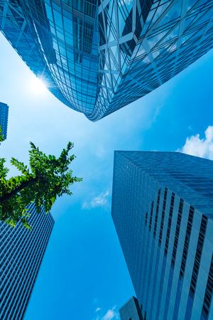 High rise buildings and blue sky Shinjuku Tokyo  Japan Stock Photo