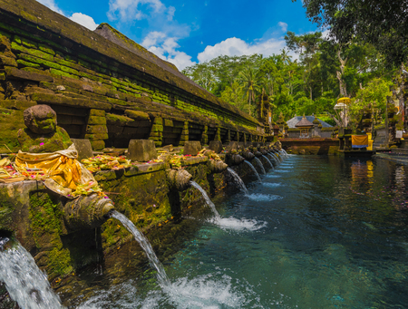 Holy spring water in Tirta Empul temple, Bali, Indonesia