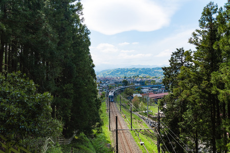 Chichibu basin and train in spring season from Saitama prefecture in Japan