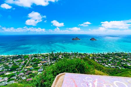ラニカイビーチ カイルア、オアフ島、ハワイのように上から