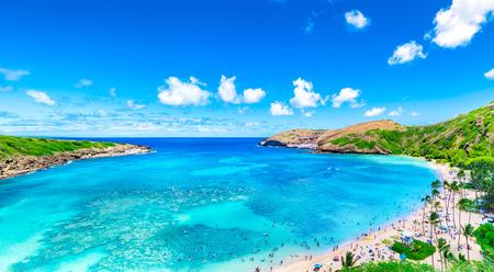 Hanauma Bay from distance in Hawaii Фото со стока
