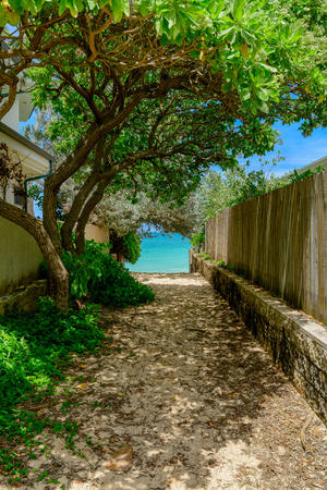 The alley which spreads out in the Lanikai beach Stock Photo
