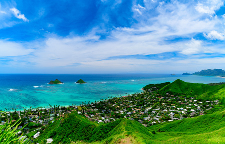 Lanikai Beach as seen from above in Kailua, Oahu, Hawaii