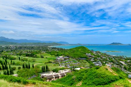 Lanikai Beach as seen from above in Kailua, Oahu, Hawaii
