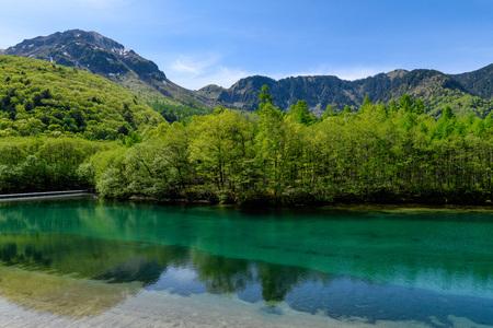 Taishoike pond Hotaka mountain range in Kamikochi