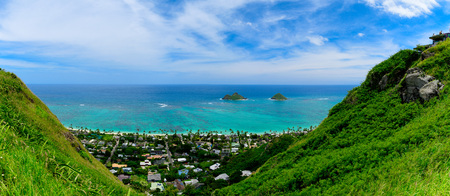View of Lanikai from the Pillbox hiking trail in Hawaii