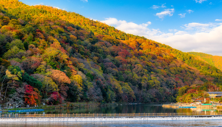 The Togetsukyo Bridge, Arashiyama, Kyoto, Japan, in autumn.