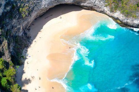 Aerial view of Kelingking Beach aka T-Rex Head Beach in Nusa Penida, Bali, Indonesia
