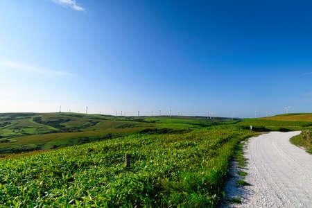 The blue sky of Hokkaido and the land of Soya Stock Photo