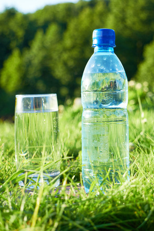 bottle and glass of water on the lawn, grass