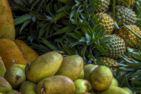 Tropical fruits on market Stock Photo