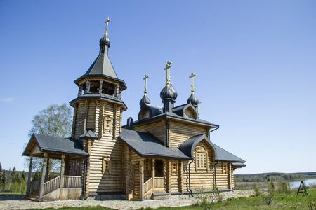 Wooden orthodox church, Russia Stock Photo