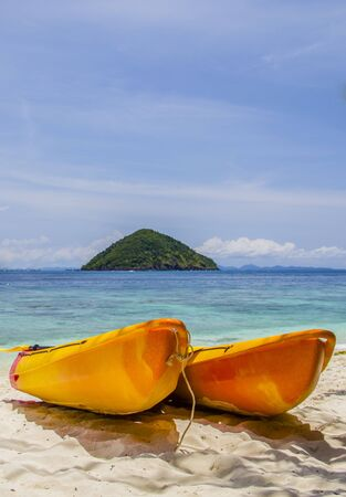 Two kayaks on the beach  Made in Thailand  Stock Photo - 17080655