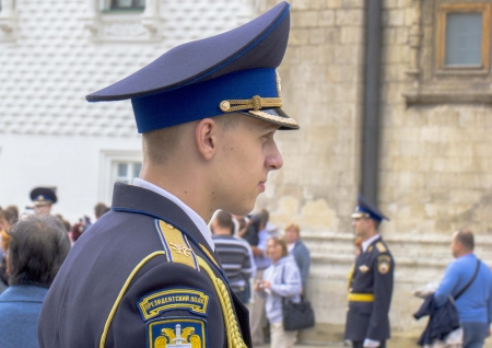 Russian military cadet watching parad of Victory Day  Ekaterinburg, Russia