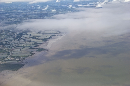 Industrial pollutions into the sea  Aerial view  photo