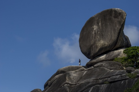 thailand s landmarks: Big rocks with a little man standing on them  Stock Photo