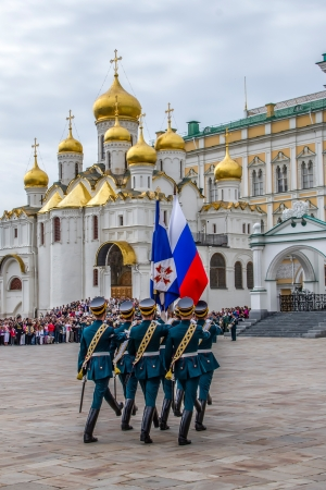 Soldiers of Kremlin regiment in Kremlin, Moscow, Russia.