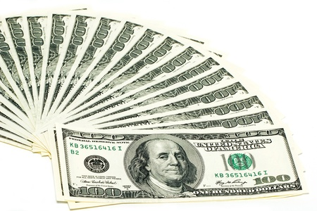100 dollar bills on a white background. Fan stack.