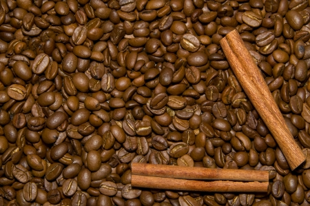 Coffee beans and cinnamon full frame shot Stock Photo