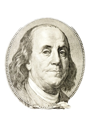 one hundred: A portrait of Benjamin Franklin from 100 dollar bill  Stock Photo
