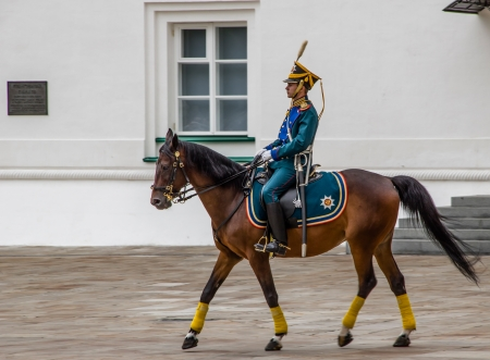 Soldier of Kremlin regiment on horseback. Moscow, Russia.